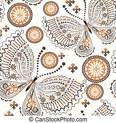 Vintage seamless pattern with gradient gold butterflies