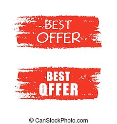 best offer on red drawn banner, vec
