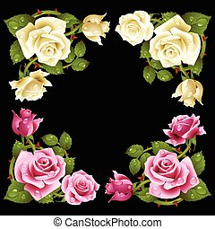 Vector rose corner isolated on black background. Red and...