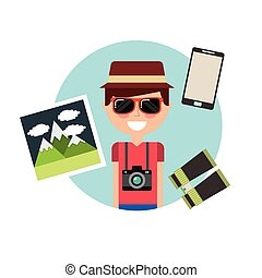 tourist person with camera photographic