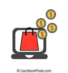 electronic commerce flat set icons