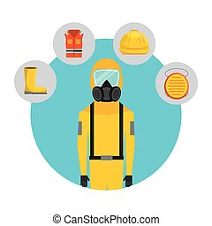 safety industry equipment flat icons