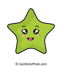 star kawaii cartoon - kawaii green cartoon cute star shape...
