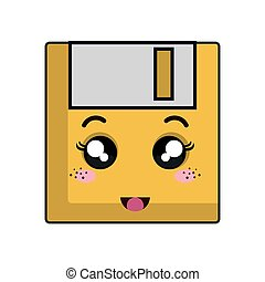 kawaii cartoon diskette with happy face. vector illustration