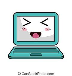 kawaii cartoon laptop