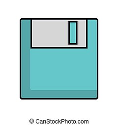blue data diskette retro technology equipment vector...