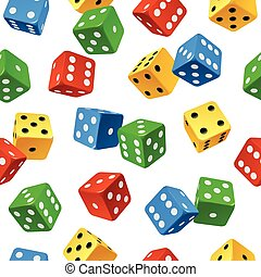 Vector varicolored dice seamless pattern isolated on white...