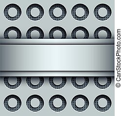 Background with perforated seamless pattern, 3D silver...