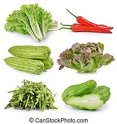 espargos, maçã, chuchu, Momordica, charantia, verde,...