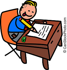School Boy Test - A cute doodle drawing of a happy little...