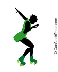 African American Female Roller Skater Silhouette - African...