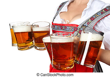 Oktoberfest woman with beer - Young sexy woman wearing a...