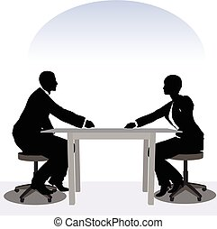 business man and woman silhouette in meeting pose - EPS 10...