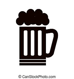 beer mug drink with foam beverage alcohol silhouette vector...