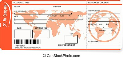 Airline boarding pass tickets with barcode