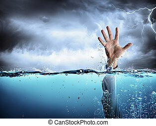 Help Concept - Drowning And Failure - Man%u2019s Hand In Sea