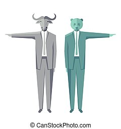 Baer-Bull.eps - Bear and bull businessmen