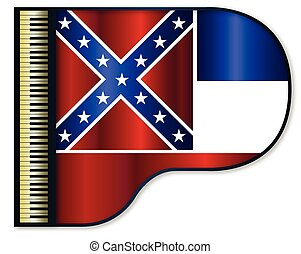 Grand Piano Mississippi Flag - The Mississippi flag set into...