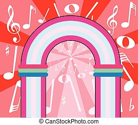 Musical Notes Archway - A jukebox depiction with music...