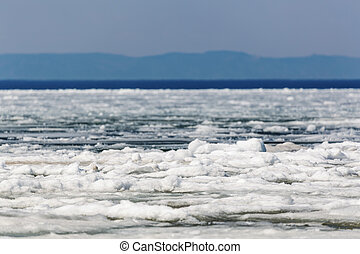 Spring Lake Baikal - Melting ice on the Baikal lake in...