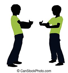 boy silhouette in Lifting Pose - EPS 10 vector illustration...