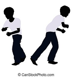 boy silhouette in Pulling Pose - EPS 10 vector illustration...