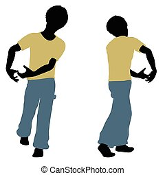 boy silhouette in Carrying Pose - EPS 10 vector illustration...