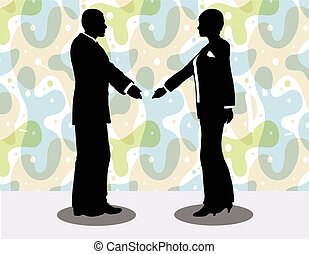 business man and woman silhouette in handshake pose - EPS 10...