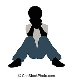 boy silhouette in Intimate Talk Pose - EPS 10 vector...