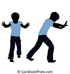 boy silhouette in Pushing Pose - EPS 10 vector illustration...
