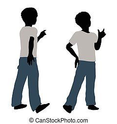 boy silhouette in Happy Talk Pose - EPS 10 vector...
