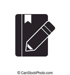 text book with pencil isolated icon vector illustration...