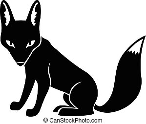 Silhouette fox isolated - Vector illustrations of silhouette...