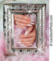 nails pink and pearl with diamonds with ancient finely...