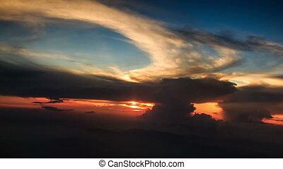 Sun Disk on Skyline above Cloud - sun above orange clouds...