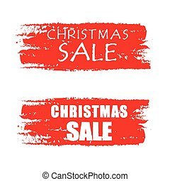 christmas sale red drawn banners v