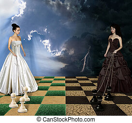 Girls and chess. - Two girls are playing chess. The first of...