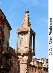 Column Shrine - Piazza delle Erbe Verona - Detail of the...