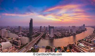 Aerial view, Bangkok river