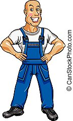 Friendly worker in blue overalls