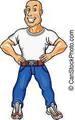 Smiling man in shirt and blue jeans vector illustration