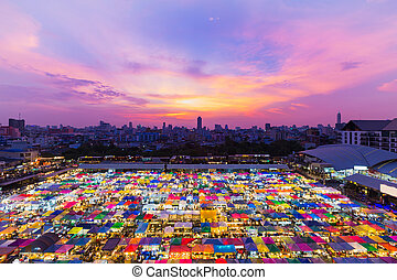 Aerial view night market