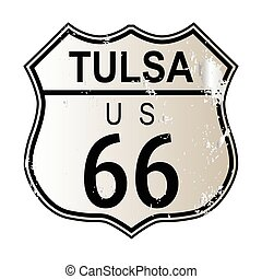Tulsa Route 66 Highway Sign - Tulsa Rosa Route 66 traffic...