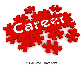 career puzzle 3d illustration isolated on white background