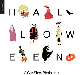 Halloween letetring card on white - Halloween letetring card...