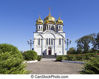 Orthodoxy Church Temple with golden domes - Orthodoxy church...