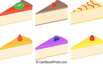 Vector illustration set of colorful cheesecakes