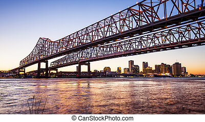 Crescent City Connection Bridge & New Orleans City Skyline...