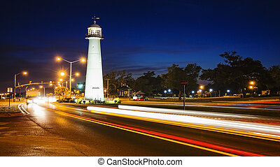 Biloxi Lighthouse at Night and Traffic in The Gulf Coast...