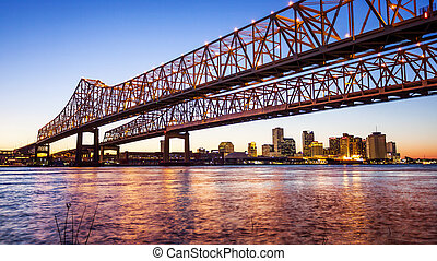 Crescent City Connection Bridge & New Orleans City Skyline at Night
